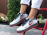 Женские кроссовки Nike Air Force 1 белые с красным, голубые, фото 4