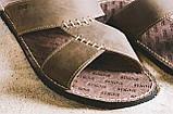 Мужские шлепанцы кожаные летние коричневые Bonis Original 27, фото 3