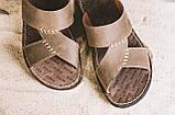 Мужские шлепанцы кожаные летние коричневые Bonis Original 27, фото 4