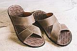 Мужские шлепанцы кожаные летние коричневые Bonis Original 27, фото 5
