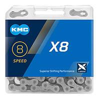 Цепь KMC X8 Silver/Gray, для 8 скоростных трансмиссий велосипеда