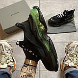Женские кроссовки  Balenciaga Triple S Clear Sole Black/Green., фото 4