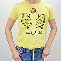 Детская желтая футболка топ для девочки Авокадо тм Miss Feriha размер 152 см