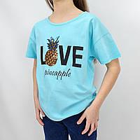 Голубая футболка для девочки Ананас тм Glo-Story размер 134 см