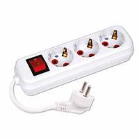 Подовжувач електричний Horoz Electric 3-Gang Socket з заземленням і кнопкою 5м 16А 3 гнізда (200-305-302)