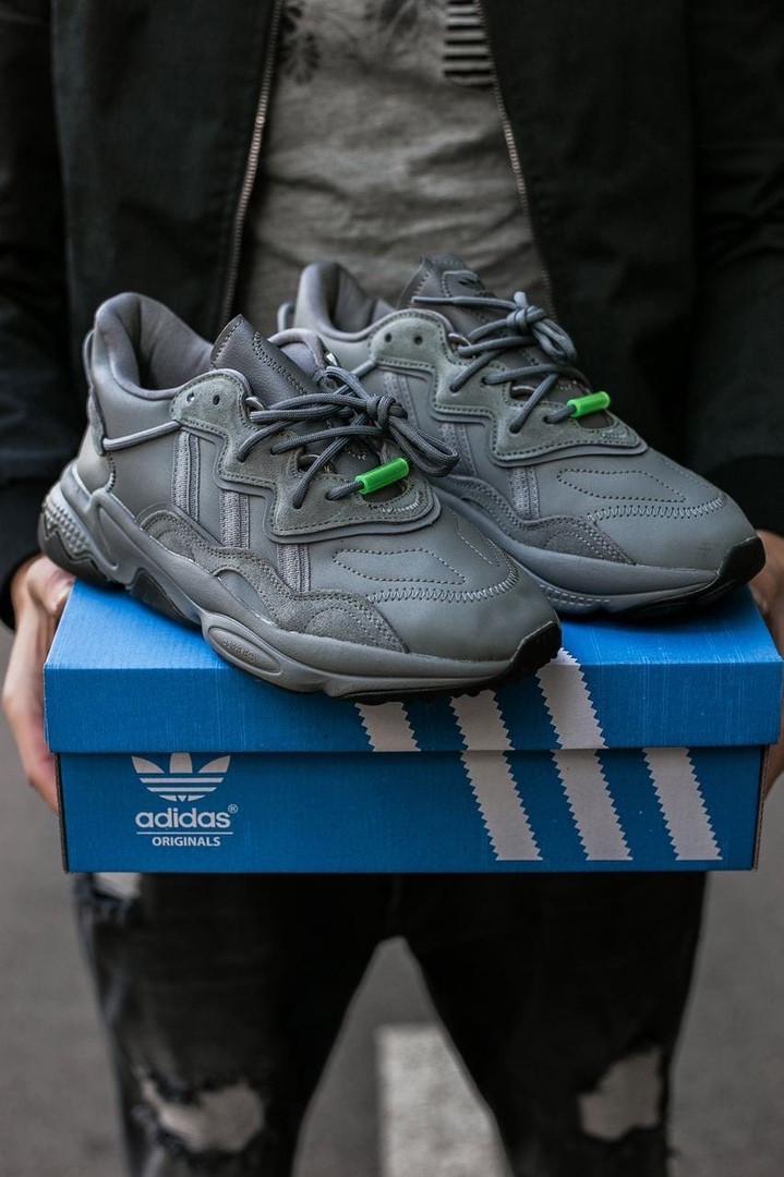 """Мужские/ женские кроссовки Adidas Ozvego «Dark Grey/Green"""""""