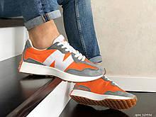 Мужские кроссовки New Balance 327 оранжевые с серым