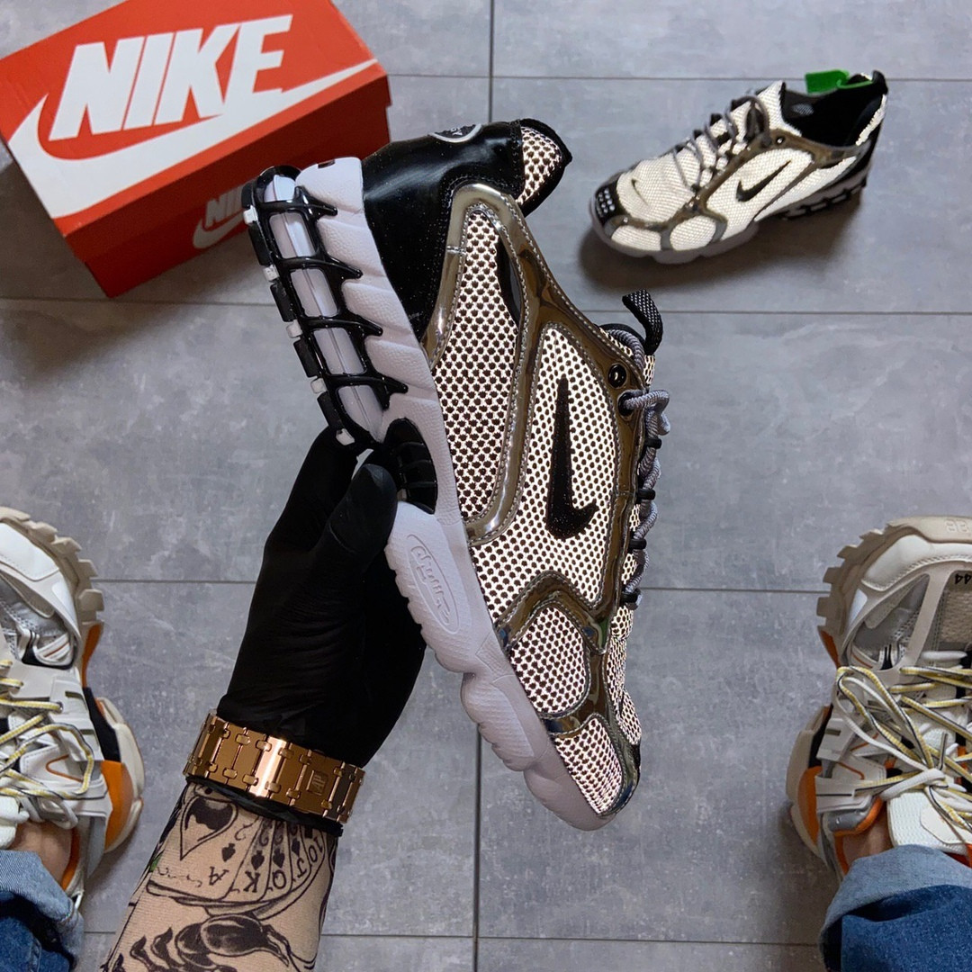 Жіночі кросівки Nike Air Zoom Spiridon Cage 2 Stussy Pure Platinum.
