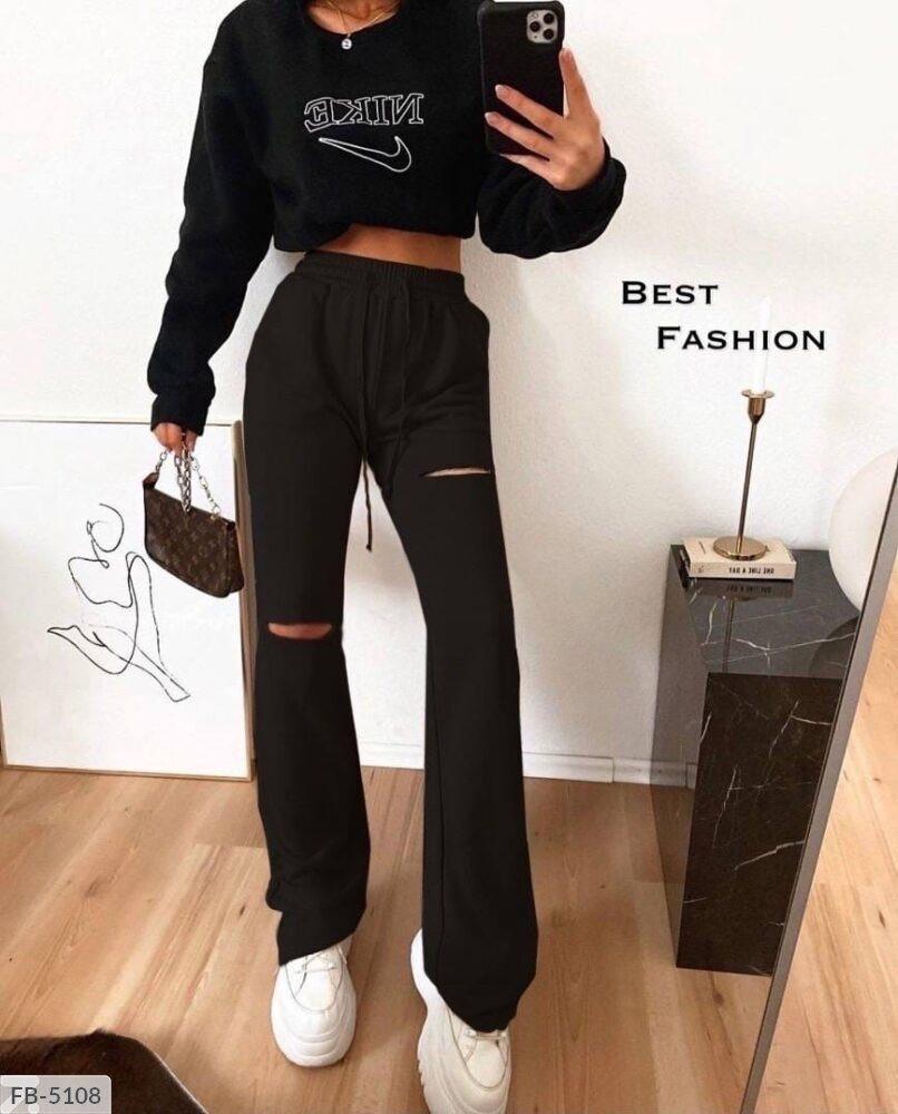 Спортивные женские штаны с порезами