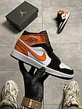 Жіночі кросівки Nike Air Jordan 1 White Black Orange, фото 6