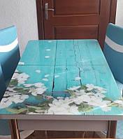 """Розкладний обідній кухонний комплект стіл і стільці з 3D малюнком """"Цвітіння яблуні"""" ДСП скло 70*110 Лотос-М 3д"""