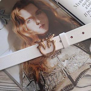 Женский кожаный ремень Пинко реплика Белый с золотой пряжкой