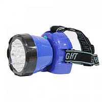 Ліхтар світлодіодний налобний Horoz Electric Beckham-4 LED 0.9 Вт 45Лм 7000-9000К батарея 900мАч синій