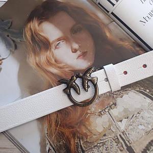 Женский кожаный ремень Пинко реплика Белый с медной пряжкой