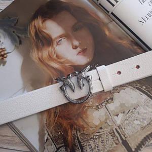 Женский кожаный ремень Пинко реплика Белый с серебристой пряжкой