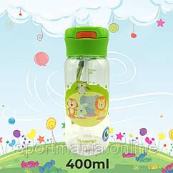 Пляшка для води CASNO 400 мл KXN-1195 Зелена (Малята-звірята) з соломинкою
