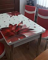 """Раскладной обеденный кухонный комплект стол и стулья с 3D рисунком """"Красный цветок"""" ДСП стекло 70*110 Лотос 3д, фото 1"""