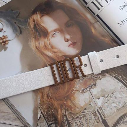 Женский кожаный ремень Диор реплика Белый с золотой пряжкой, фото 2
