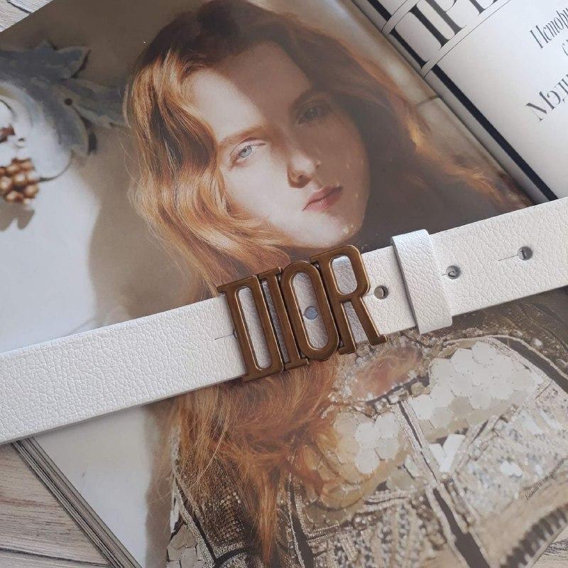 Женский кожаный ремень Диор реплика Белый с золотой пряжкой