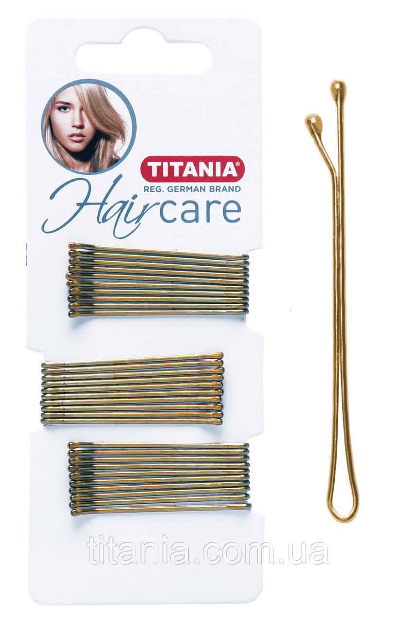 Невидимки для волос прямые 5 см золотистые 30 шт. TITANIA art.8061/A