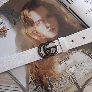 Женский кожаный ремень Гуччи реплика Белый с медной пряжкой