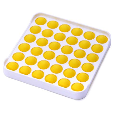 Игрушка-антистресс поп ит фиджет силиконовый квадрат с ободком желтый, фото 2