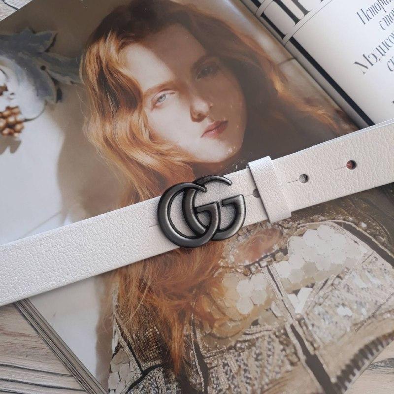 Женский кожаный ремень Гуччи реплика Белый с серебристой пряжкой