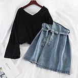 Стильный костюм женский с джинсовой юбкой, фото 2