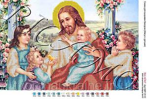 """Схема для вышивки бисером """"Иисус Христос с детьми"""""""
