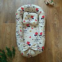 Позиционер двусторонний для новорожденных с подушкой Mickey