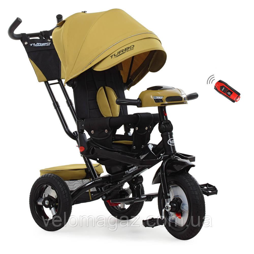 Детский велосипед M 4060НА трехколесный, колеса надувные, поворот сиденья, лён