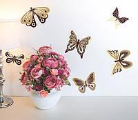 Наклейки Метелики Коричнево-бежеві набір вінілових наклееек 20 шт. матові самоклеючі наклейки метелики