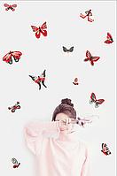 Наклейки Метелики Червоно-сірі набір вінілових наклееек 20 шт. матові інтер'єрні наклейки метелики