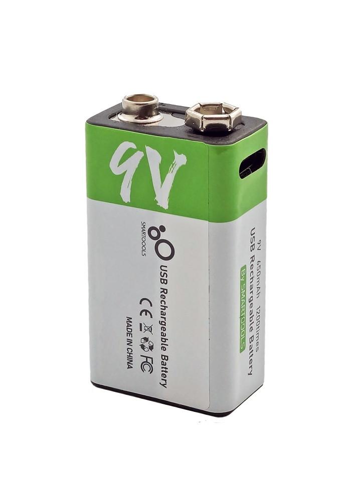 Батарея (акумулятор) Крона 6F22 9V (CR-9V) micro USB Type-C 650 мАч Li-ion Smartoools