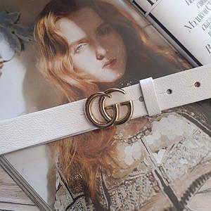 Женский кожаный ремень Гуччи реплика Белый с золотой пряжкой