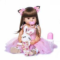 Силиконовая коллекционная кукла Reborn Doll 55 см Девочка Моника 198, КОД: 1938633