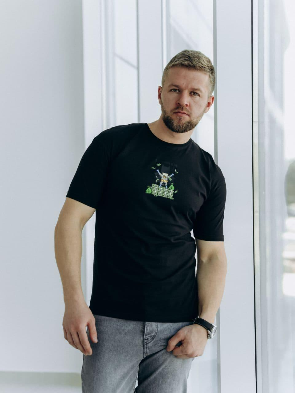 Стильная мужская футболка с принтом черная, молодежная футболка Бетмен