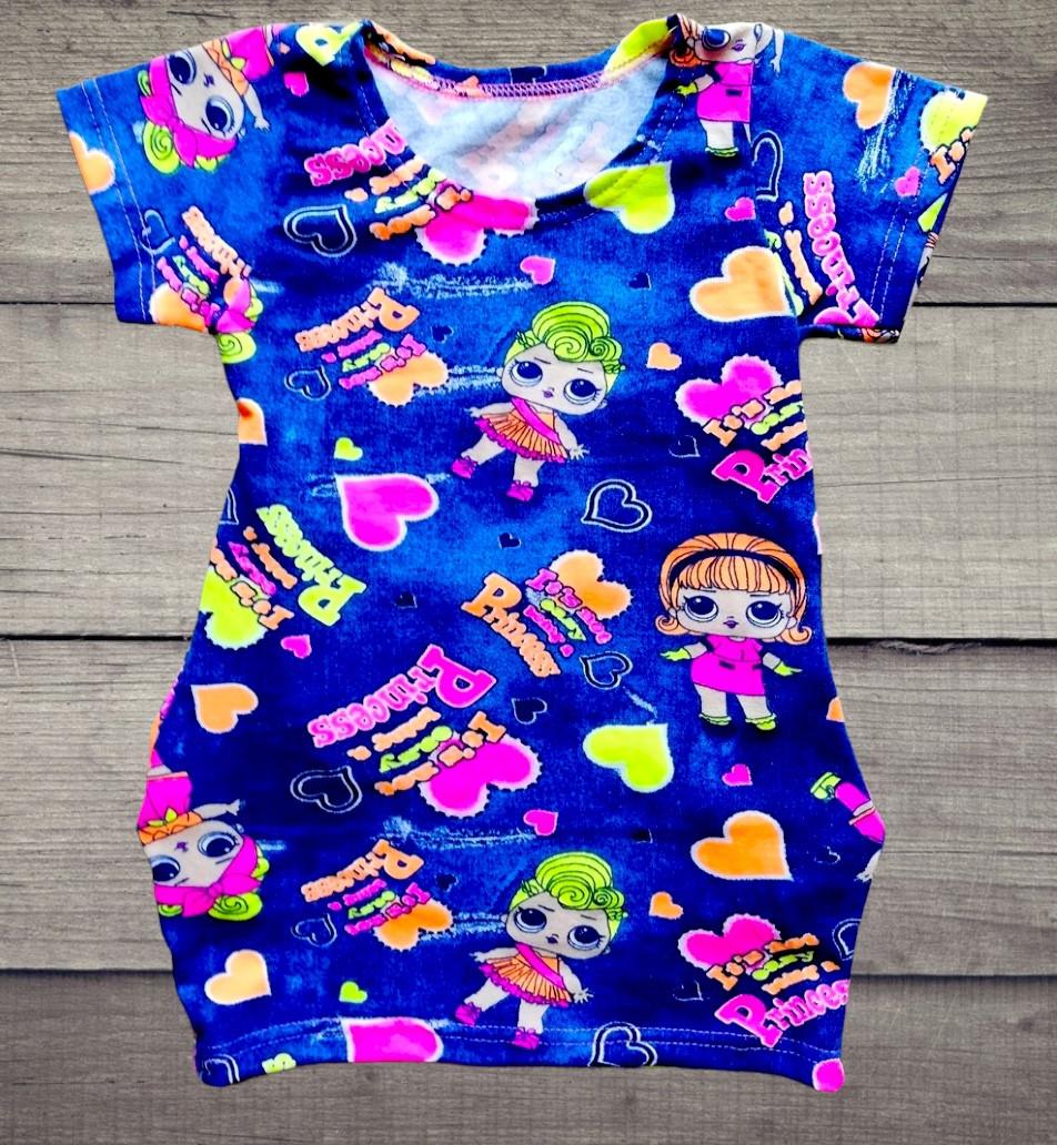 Детская туника-платье ЛОЛ для девочки с боковыми карманчиками размеры 28 и 30