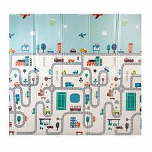 Розвиваючий двосторонній складаний дитячий ігровий термоковрик для повзання Baby Mat Подорож 180x150x1 см
