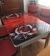 """Розкладний обідній кухонний комплект стіл і стільці з 3D малюнком """"Бордова троянда"""" ДСП скло 70*110 Лотос-М 3д, фото 1"""