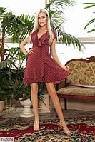 Літній красиве жіноче плаття-сарафан на запах в дрібний горошок на запах з воланами р-ри 42-48 арт. 364