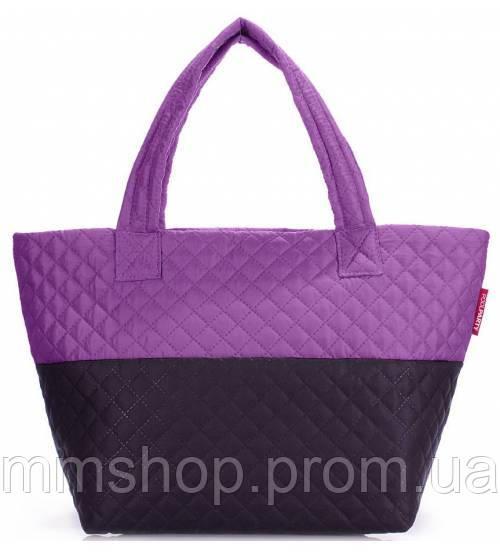 Сумка женская стёганая POOLPARTY Broadway чёрная с фиолетовым, фото 1