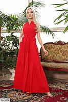 Красиве жіноче плаття в підлогу довге розкльошені від талії з поясом без рукава р-ри 42-48 арт. 390