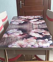 """Раскладной обеденный кухонный комплект стол и стулья с 3D рисунком """"Кремовые лепестки"""" ДСП стекло 70*110 3д, фото 1"""