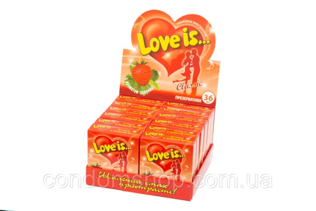 Презервативи ексклюзив Love is(Лав з)36 шт. Великобританія.ПОЛУНИЦЯ.