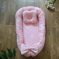 Кокон-позиционер с подушкой и бортиками для новорожденных Листья