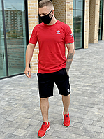 Мужской комплект футболка и шорты Adidas красный