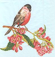 Салфетки декупажные Птица на цветущей ветке 377