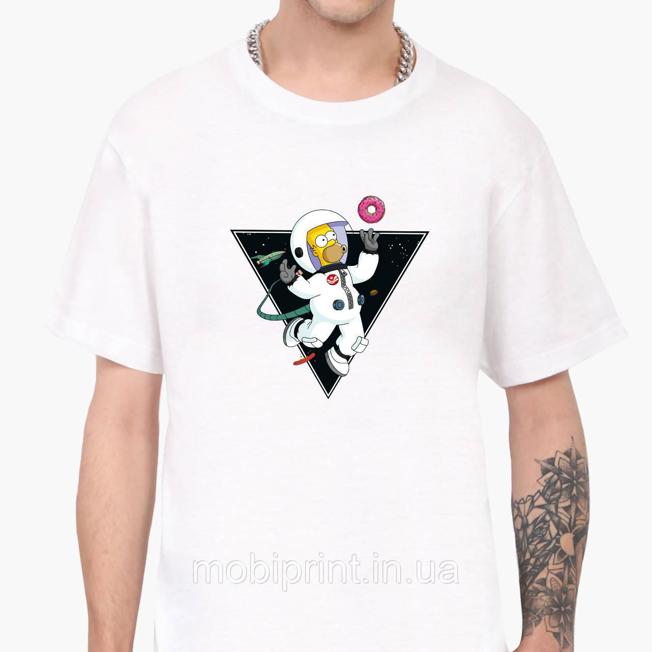 Футболка чоловіча Гомер Сімпсон в космосі (The Simpsons) Білий (9223-2044)
