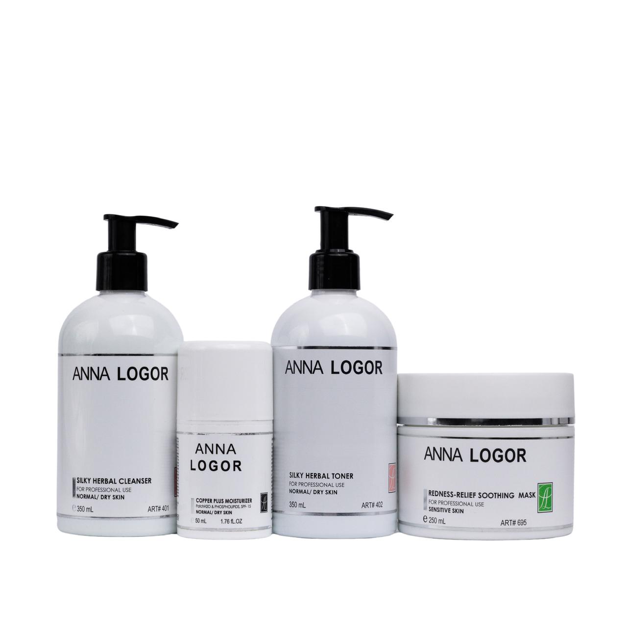 Набор косметики Anna LOGOR Redness-Relief Kit Комплексный уход. Серия для сухой кожи лица